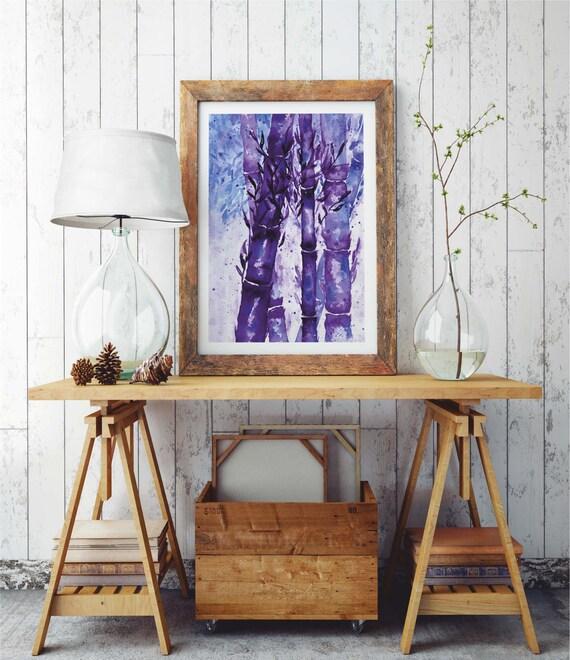 Bamboo Forest |  Paper poster | Wall art | Watercolor painting | Poster Art | Archival Print  | Japanese Purple Art | ZuskaArt