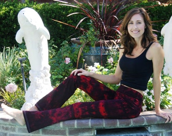 Tall Twilight Red Tie Dye Yoga Pants including Extra Long and Plus Sizes by Splash Dye Activewear
