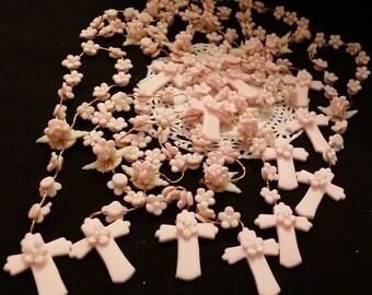 Mini Rosary Favors, Girls Baptism Favor, 12 Pink Rosaries Favor, First Communion Rosary, First Communion Favor, Pink Baptism Favor, Rosaries