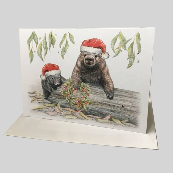 Australian christmas card with wombat family santa hats gum like this item m4hsunfo Choice Image