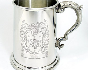 Family Crest / Coat of Arms Personalised Pewter Tankard