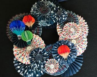 hot air balloon summer genre paper rosette wreath