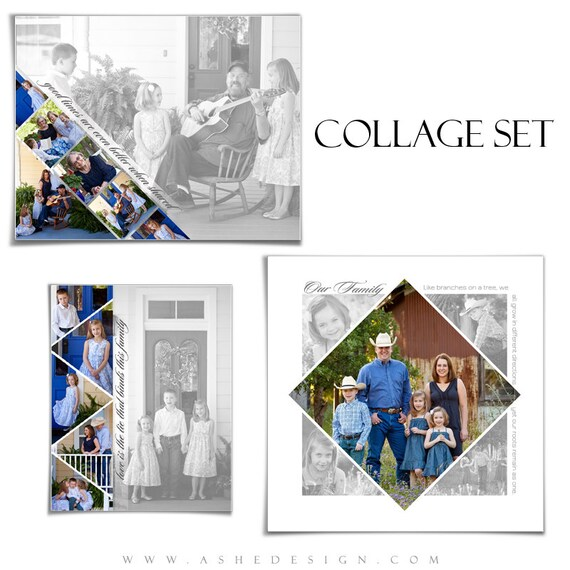 Familie Collage Set Wimpel 3 digitale Photoshop Vorlagen