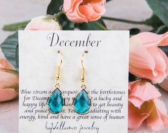December Turquoise birthstone, Gold Teardrop Earrings, Blue Zircon Gold Earrings, December Birthstone Jewelry, Bridesmaid Gold Earrings