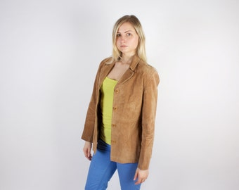Beige Cream Vintage Jacket / Women's Brown Leather Jacket / Real Leather Motorcycle Jacket / Biker Jacket / Two Pocket Size Large