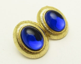 Cobalt Blue Earrings Large Oval Two Sisters Jewelry
