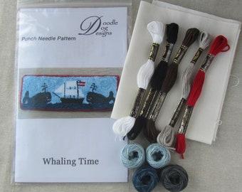 Nautical Primitive Punch Needle Paper Pattern - Whaling Ship - Whales - Mailed punch needle Pattern -  Punchneedle Pattern - Needle Punch