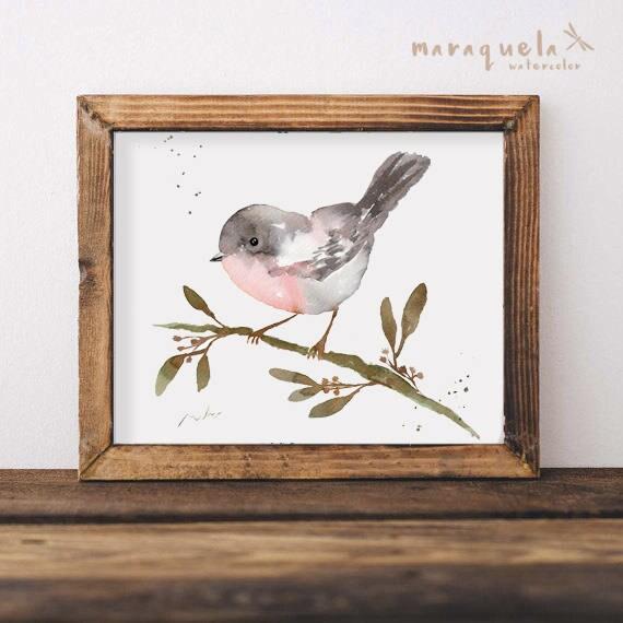 BIRD V illustration Watercolor Collection,art print birds, animals, nature,elegant birds,gray and light peach pink,decoration,birds painting