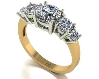 Moissanite Ring in 9 Carat Yellow Gold