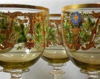 Set of four Bohemian wine Glasses