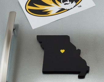 """Missouri Tigers """"State Heart"""" Magnet, handcrafted wood with official team colors"""