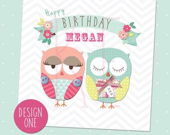 Personalised Handmade Owl Birthday Card
