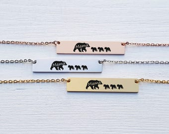 Mama Bear Necklace Gift for Mom Bar Necklace Personalized Necklace Jewelry Rose Gold Silver Engraved Mother Gift for Her Gift for Friends 9