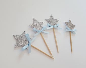 Silver star with bow cupcake toppers, food picks. Set of 12. Blue, silver glitter, satin bow. Fairy wand. Twinkle twinkle little star party.