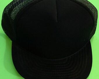 Vintage Solid Black Cap