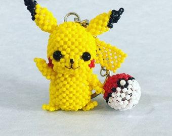 3D Beaded Pikachu Pokémon Keychain with Pokeball