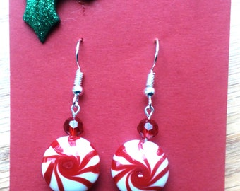Christmas Peppermint Candy Glass Earrings