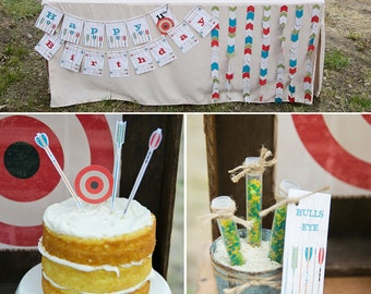 Archery | Bow and Arrow | Target Practice PRINTABLE Party Collection - You Customize EDITABLE TEXT >> Instant Download | Paper and Cake