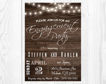 Rustic Engagement Party Invitation   Printable Rustic Party Invitation