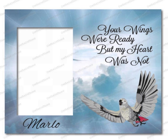 Your wings were ready but my heart was not quote, African Grey Parrot Frame, Pet Memorial Frame, Loss of Pet frame, Pet Portrait