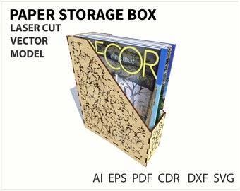 Paper storage box. Vector model. Laser cut or cnc. instant download. Plywood box. Laser cut template. Cnc file. Cnc vector. SVG DXF EPS file