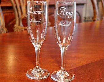 2 Engraved Champagne Flutes,  Personalized Champagne flutes,  Wedding champagne flutes, Bridesmaid champagne flutes, Bridal party glasses