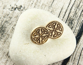 Celtic Knot - Knotwork - Celtic Stud Earrings - Bronze, Earthtone