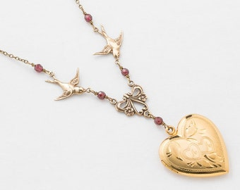 Locket Necklace, Heart Necklace, Gold Filled Locket, Vintage Heart Locket with Genuine Red Garnet, Bird Charm & Leaf Engraving, Jewelry Gift