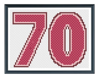 70th Birthday Card Cross Stitch Pattern - Pink