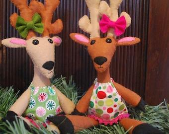 Christmas Felt Doll Pattern -Oh, My Deer!- Reindeer   -Christmas Decoration or Gift