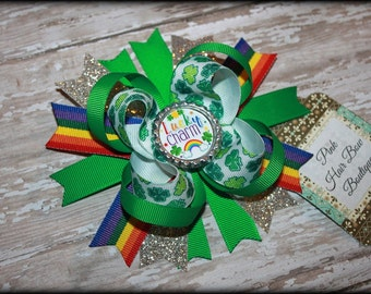 Hair Bow - St. Patrick's Day Hair Bow - Shamrock Hair Bow  - Clover Hair Bow - Baby's First St. Patrick's Day - Pink Hair Bow Boutique