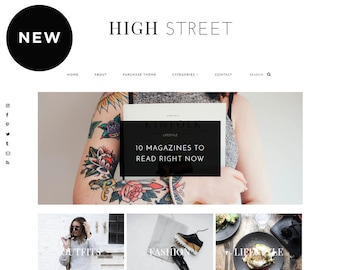 Blogger Template for Fashion Bloggers / High Street / Responsive Blogger Design with post slider / Premade Blogger Template