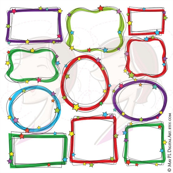 Doodle Frames Clip Art Handdrawn Christmas Borders SVG great