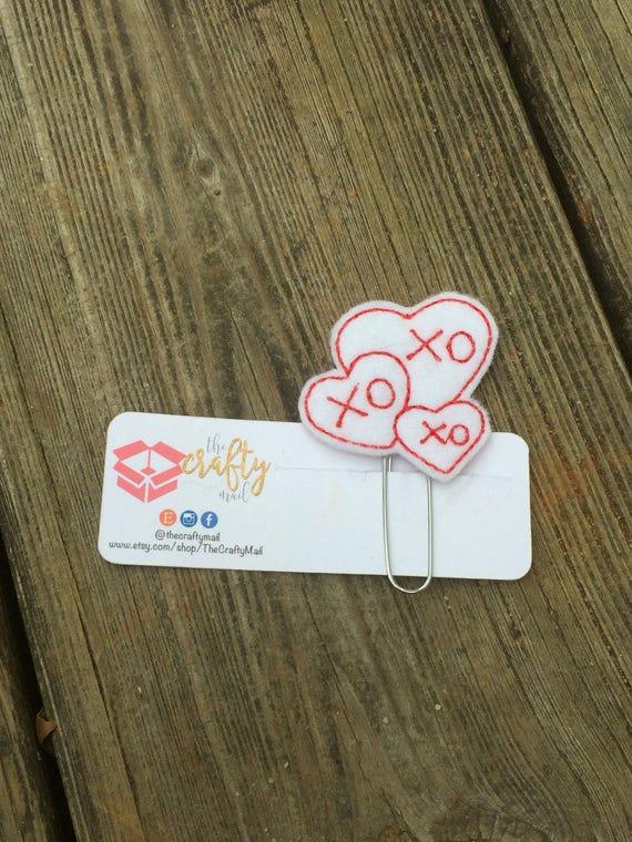 XOXO Heart Clip/Planner Clip/Bookmark. Valentine's planner clips.