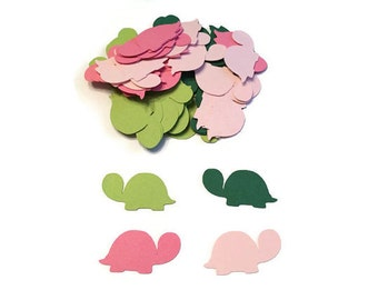 100 Assorted Green and Pink Turtle Confetti, Die Cut Turtle, Baby Shower, Turtle Theme Party, Turtle Décor, Turtle birthday party