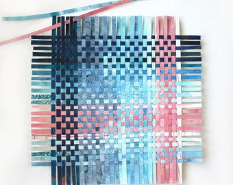 Blue Paper Weaving- 11x11- Abstract Wall Art- Ombre- Woven Art- Turquoise, Pink, Navy Blue