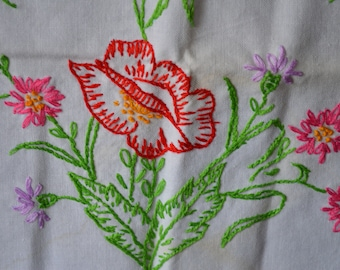 Red Poppy with Pink and Purple Daisy-Like Flowers on Vintage Hand Embroidered Dresser Scarf Lovely Crochet Edge 31 x 13 Inches