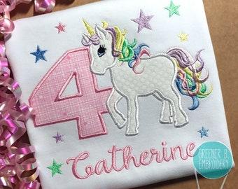 Birthday Unicorn Shirt / Unicorn Applique Shirt / Pastel Unicorn / Girl Unicorn Shirt / Toddler Unicorn Shirt / Personalized Unicorn Shirt