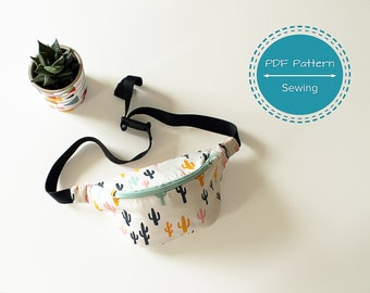bumbag fanny pack sewing pdf pattern waist bag, festival boho 90's bag tutorial, one compartment
