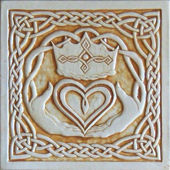 Celtic claddagh relief carved ceramic tile