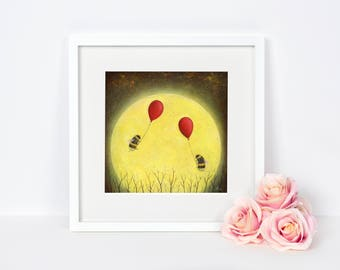 Full Moon with Bee and Balloon Art Print - Nature Painting - Gift Idea - Home and Nursery Decor - Insect Wall Art