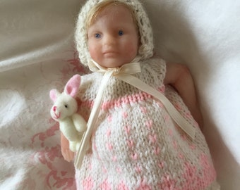 "Solid silicone mini baby""Missy"" with cloth body ecoflex 20 hand knitted dress"