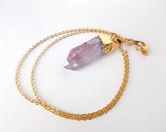 Purple Aura Quartz Necklace, Jewelry for Her, Titanium Crystal Pendant, Raw Stone Necklace, Spring Jewelry