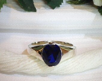 Sparkling Men's Blue Sapphire Ring ~ 925 Sterling Silver ~ Size 10