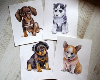 Watercolor puppy animal Set four art Watercolor dogs Original painting art Animal artwork Children's room decor Cute animals Wall Art dog
