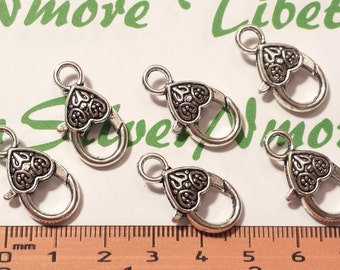 6 pcs per pack 24x12mm Fancy Medium Heart Lobster Clasp Antique Silver finish Lead Free Pewter.