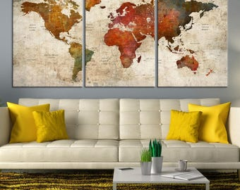 World Map Wall Art, World Map Push Pin, World Travel Map, World Map Canvas Print, World Map Push Pin Canvas Print, Large World Map Art Print