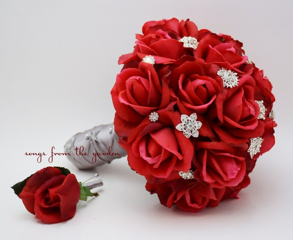 red roses rhinestones bridal bouquet real touch bridal. Black Bedroom Furniture Sets. Home Design Ideas