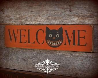 Primitive Folk Art Halloween Welcome Wood Sign