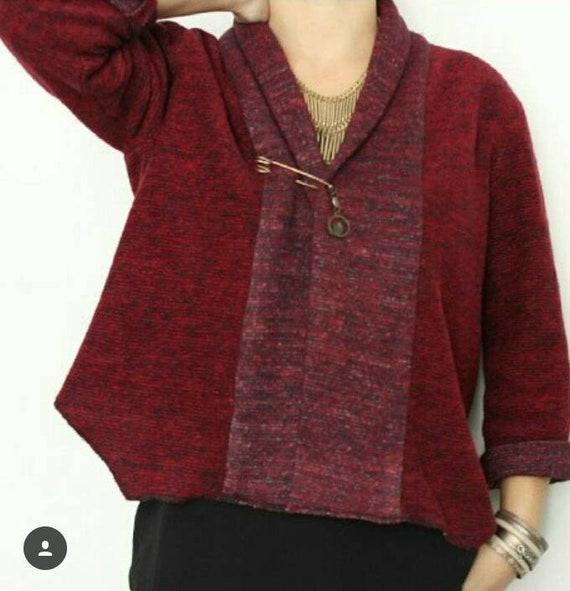 women's Cardigan, short jacket, cardigan woman, cotton wool, Garnet red heathered fleece, bordeaux, burgundy, wool vest, vest Burgundy